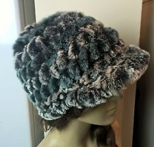 black grey green grey real genuine rabbit fur knitted hat head warmer unisex