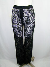 DOLCE & GABBANA Runway Black Floral Lace Sheer Women's Pants Italy 44 US 6 8
