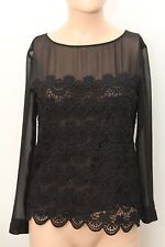 PHILOSOPHY DI ALBERTA FERETTI BLACK SHIRT BLOUSE TOP LACE SIZE 4 US
