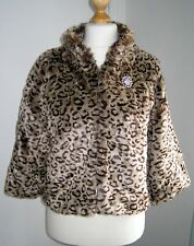 Ladies Beautiful Leopard Animal Print Faux Fur Coat Size 16  Atmosphere Exc Cond