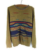 Vintage indie geek grandad moutarde vert woolly pull kaki-taille l