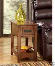Oak End Table Sofa Recliner Chair Side Drawer Accent Wood Lamp Furniture Couch