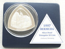 1997 Bermuda Triangular $9 Nine Dollar Silver Proof 5oz Coin Box Coa