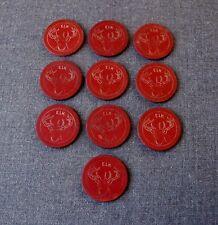 10  ANTIQUE RED BURGUNDY ELK DESIGN IN BOTH SIDES CLAY POKER CHIPS