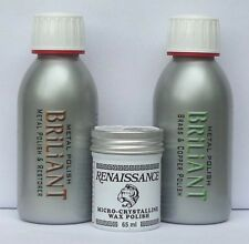 ANTIQUE BRASS & COPPER METAL POLISHING KIT WITH RENAISSANCE WAX 150mls