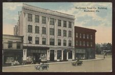Postcard ROCHESTER Pennsylvania/PA  Trust Co Bank & Business Storefronts 1907