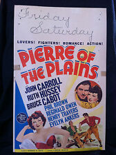 PIERRE OF THE PLAINS 1942 ORIGINAL MOVIE POSTER 14X22