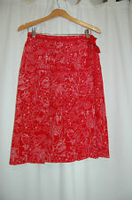 Due Per Due 100% Silk Red Pleated Front Skirt Wrap Size 8