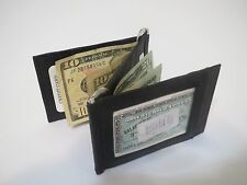 Genuine Leather Z Shape Black Double Money Clip Wallet ID Credit Card Holder Men