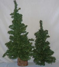 "2 Miniature Mini Green Wire Artificial Christmas Trees 18"" & 12.5"" Wood Base"