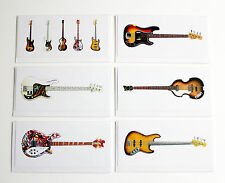 Famous Bass Guitars, Pack of 6 Greeting Cards, DL size