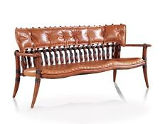 "81"" W Sofa bench brown Italian leather soft backrest polished exotic wood frame"