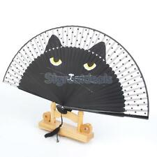 Chinese Retro Silk SUMMER Fan Cat Painted Folding HAND Fan Portable Gift