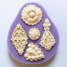 3D Vintage Jewelry Mould Cupcake Silicone Fondant Cake Chocolate Mold Purple