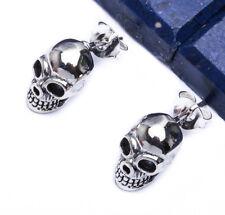 NEW SKULL STUD .925 Sterling Silver Earring