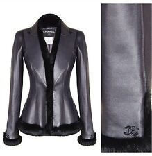 CHANEL Black Lambskin Leather Jacket Coat Fur Trim 38-40 With Chanel Gift Bag