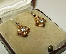 SPLENDID,ANTIQUE,GEORGIAN,FRENCH,18CT GOLD DORMEUSES EARRINGS / NATUARAL DIAMOND