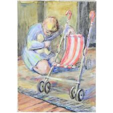 Original Signed Unframed Mid Century Mother Baby Pushchair Watercolour Painting