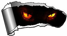 Ripped Open GASH Rip Torn Metal & Dark Evil Demon Eyes Stare Horror Car Sticker