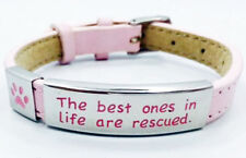 Pet Rescue Bracelet Pink Leather Puppy Dog Cat Stainless Steel Paw Print Adopt