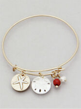 Sand Dollar Starfish Charm Bangle Bracelet GOLD RED Fashion Trendy Beach Jewelry