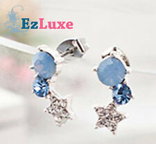 Korean star hollywood summer style Blue Galaxy Earrings curve