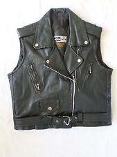 TRUE VINTAGE 80s 90s black leather cropped motorcycle jacket vest LARGE