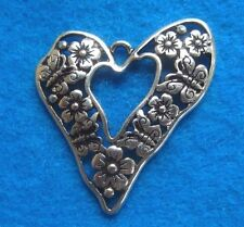 Pendant Vintage Heart Flower Butterfly Inlay Charm Antique Silver Jewelry