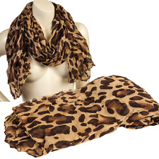 Long Light Crinkled Scarf Wrap Leopard Animal Print See Through Coffee Brown