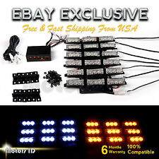 54 WHITE & AMBER LED Yellow Emergency Warning Strobe Lights Bars Deck Dash Grill