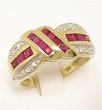 Natural Ruby 9ct 9K 375 Solid Gold Channel Set Ring - Bravo Jewellery
