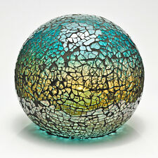 Green Turquoise Mosaic Crackle Glass Sphere Ball LED Lamp Flickering Night Light