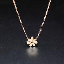Elegant 14K Rose Gold Daisy Flower Charm Stainless Steel Women Pendant Necklace