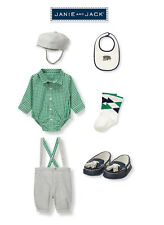 "Janie and Jack baby boys ""Parkside Prep""Shirt/Suspender short/Cap/shoes 0-3 $143"
