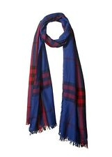 New With Tags Burberry Blue/Red Giant Check Cashmere/Wool Scarf $425.00