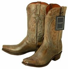 353 New LUCCHESE (1883) Pearl Bone Mad Dog Goat Cowboy Boots Men's 13 EE $395