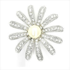 Sunflower Flower Cocktail Ring Crystal Repro VTG White Faux Pearl Clear New 143