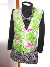 Womens Vtg 80s Corduroy Tropical Floral Palms Hippy Waistcoat Vest sz M/L Y28