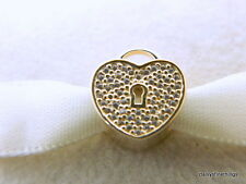 NEW! AUTHENTIC PANDORA CHARM 14KT GOLD HEART LOCK #750833CZ  HINGED BOX INCLUDED