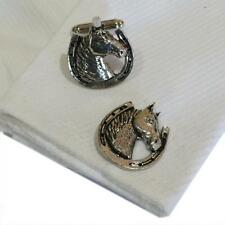 Pewter Horse Head in Horseshoe CUFFLINKS Lucky Charm Pony Rider Present GIFT Box