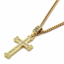 """Mens 14k Gold Plated Staple Cz Cross Pendant With 30"""" inches Cuban Necklace"""