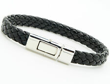 Men Women's PU Leather Bracelet Brass Clasp Bracelet Black