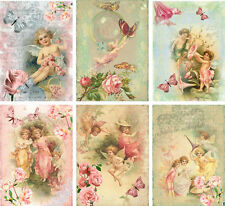 Vintage inspired angel fairy small note cards tags ATC altered art set 6