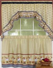 "Fat Chef Kitchen Curtains Cucina Set: 2 Tiers (57"" x 36"") & Swag (57"" x 30"")"