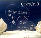 Engraved Heart snowflakes Acrylic Personalised Wedding cake toppers decorations