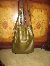 FABULOUS AUTHENTIC GUCCI OLIVE LEATHER DRAWSTRING BUCKET SHOULDER BAG