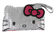 Sanrio Hello Kitty Comic Pop Silver Sequins Face Wristlet Purse Bag NWT