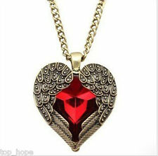 Pendant Necklace Chain Retro Vintage Style Red Heart Shape Rhinestone Angel Wing