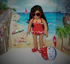 """DOLL SWIMWEAR HEART GLASSES SANDALS BEACH BALL FOR AMERICAN GIRL OR 18"""" CLOTHES"""