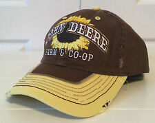 John Deere Sunflower Farm & Co-Op Brown & Yellow Cool Distressed Fabric Hat Cap